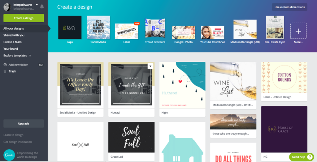 Canva dashboard screenshot